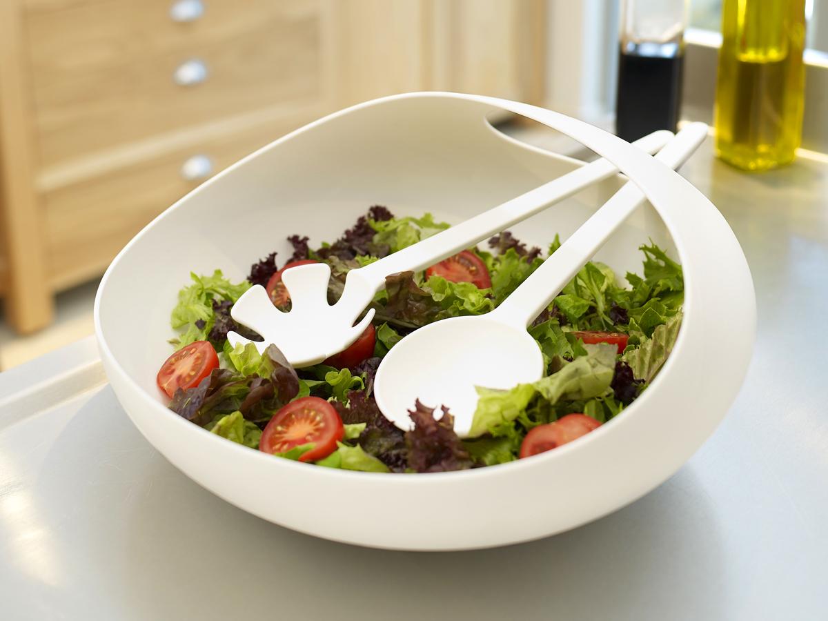 Salad Bowl & Servers White