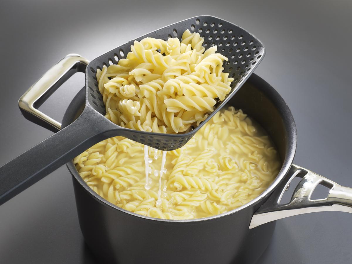 Scoop Colander In Use Pasta