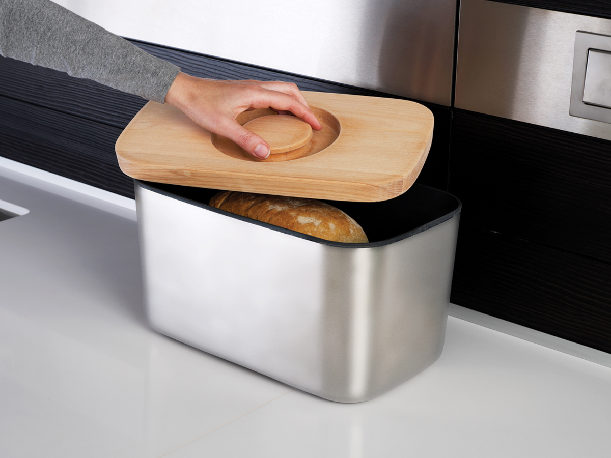 Bread Bin 100 In Use Lifting Lid