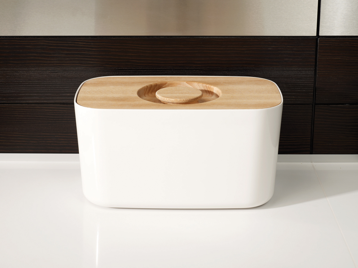 Melamine Bread Bin Mk2 White on Counter