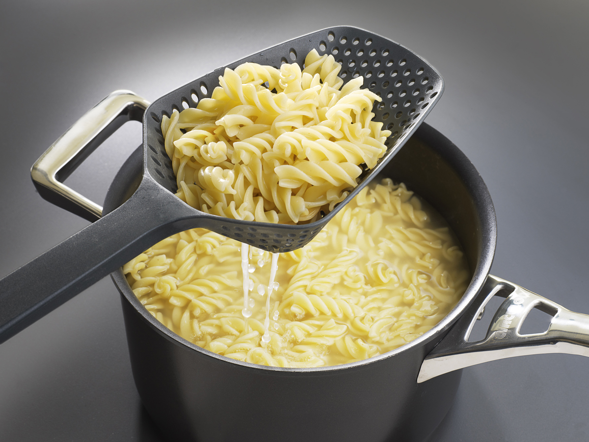 Scoop Colander In Use Pasta