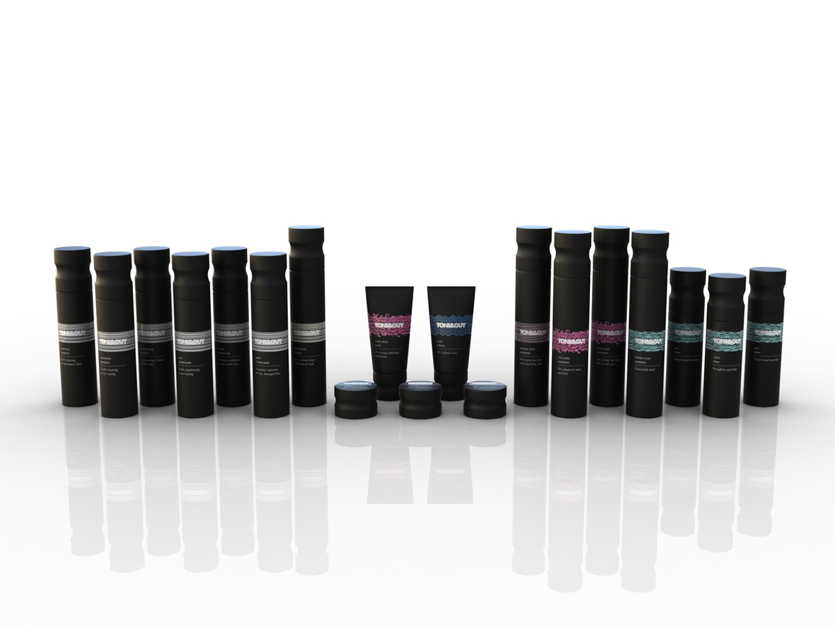 Toni & Guy Packaging Concept 1 Black Full Range